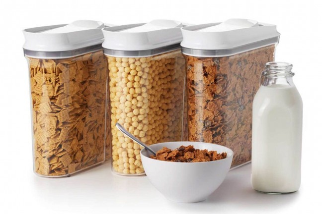 OXO Good Grips POP cereal dispensing containers. ($49 for a set of three, medium-size)