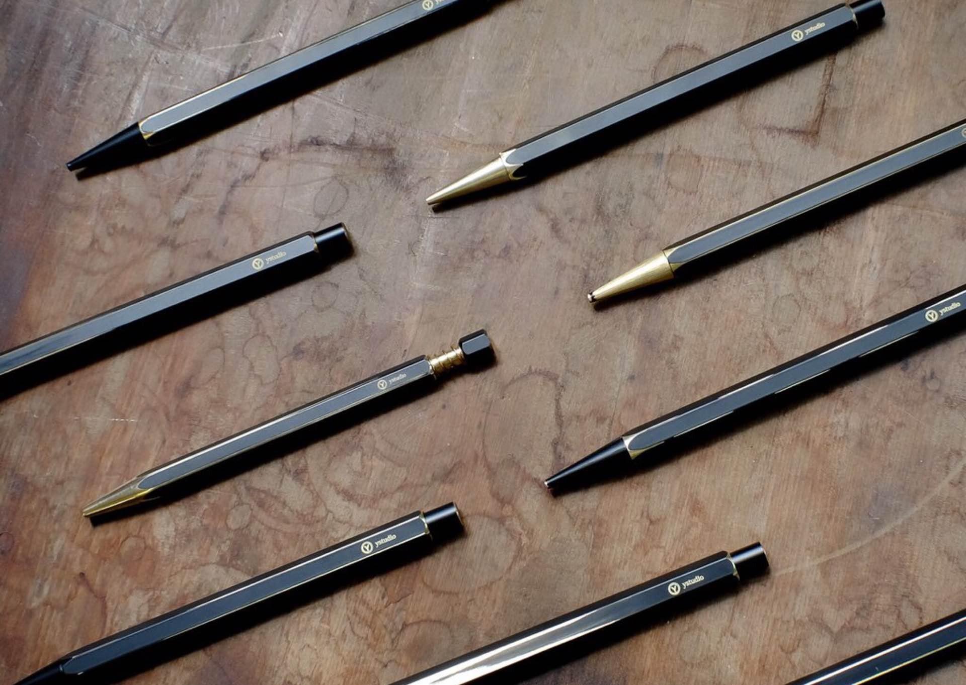 """Ystudio's """"Brassing"""" writing tools. (~$18–$189 USD )"""