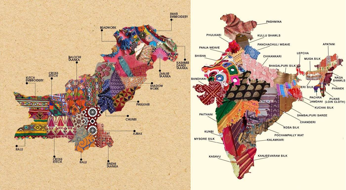 Pakistan and India textile map designs by Generation and Craftsvilla, respectively.