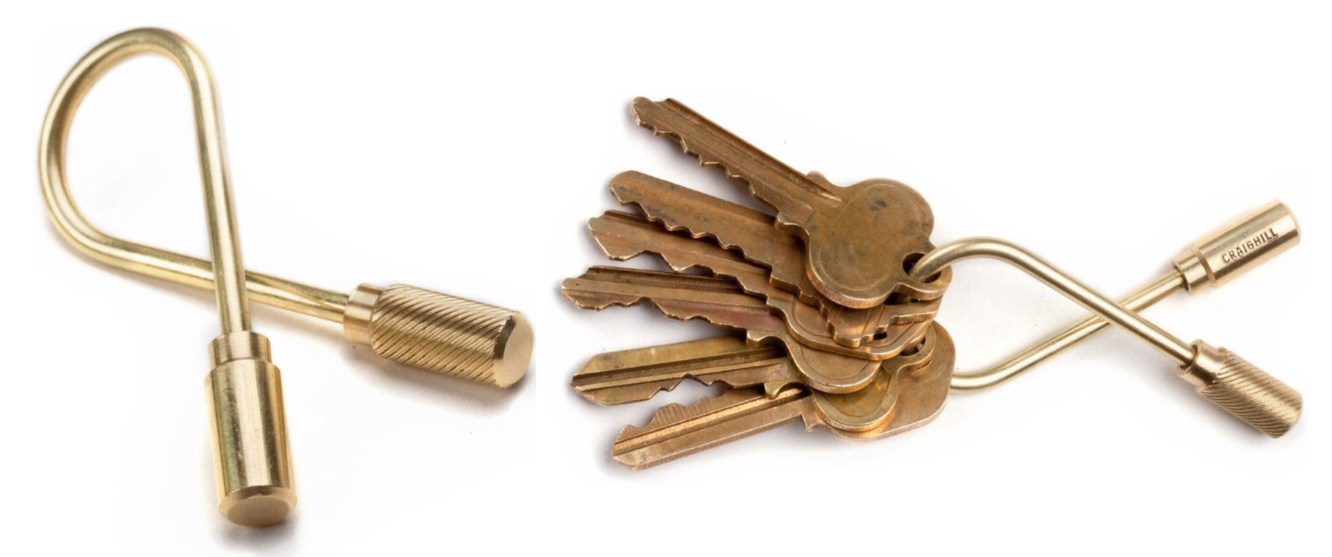 Craighill's closed-helix brass keyring. ($30)