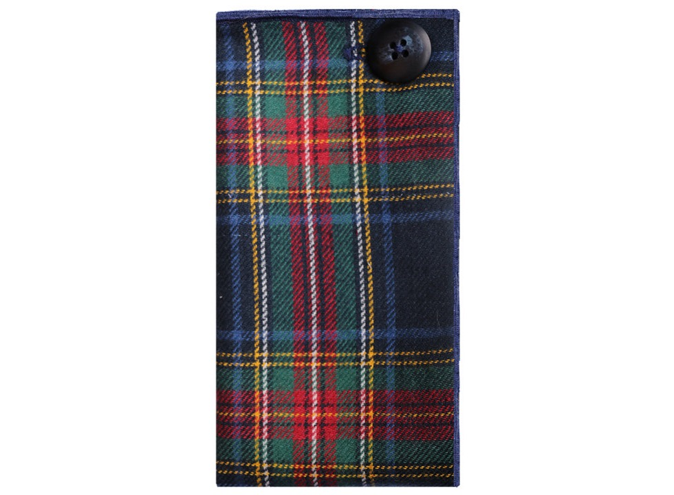 Navy blue traditional plaid wool pocket square by The Detailed Male. ($40)