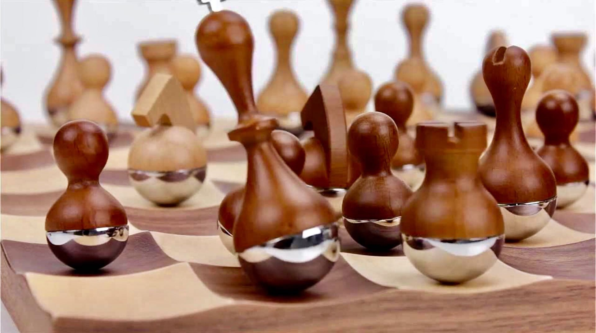 The Wobble Chess Set by Umbra is a charming modern take on an ancient classic. ($189)