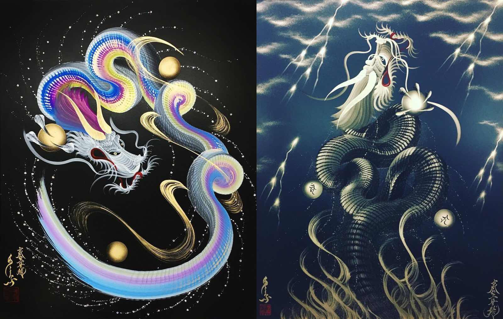Paintings by Keisuke Teshima (Instagram: @onestrokedragon)