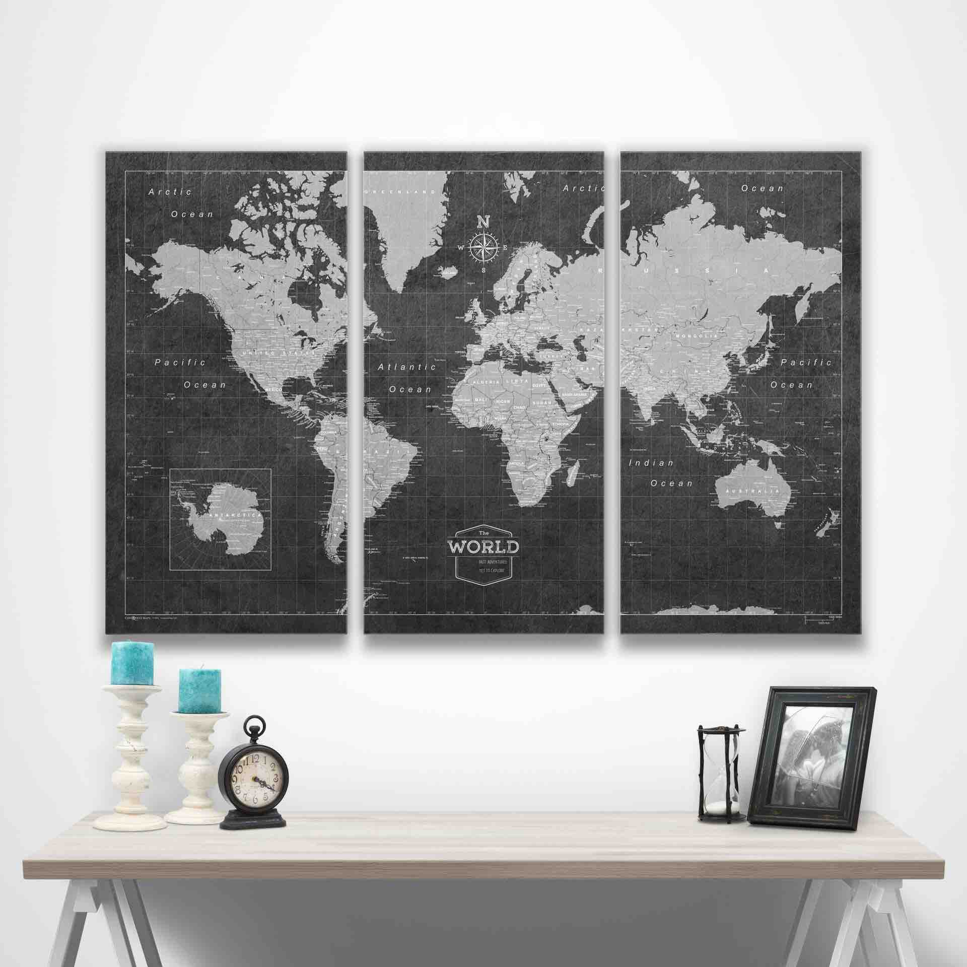 Conquest Maps' world travel pinboard map. ($99–$359, depending on size)