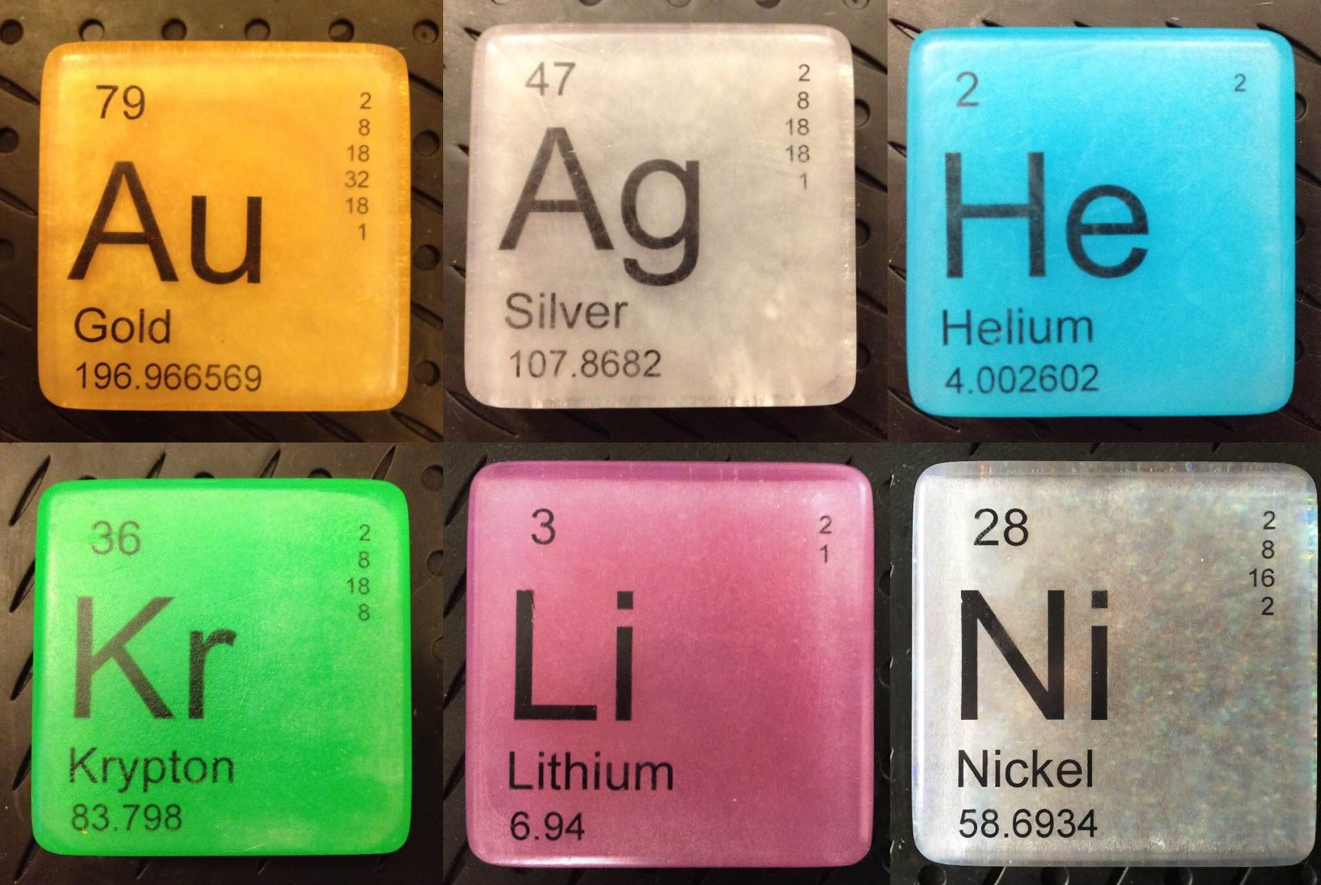 These hypoallergenic vegan soaps are styled like elements on the periodic table.  ($7.50 per bar)