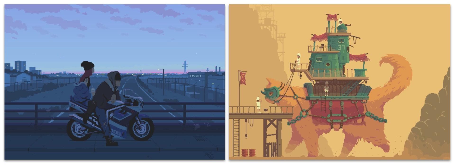 """Artwork: Romain CourtoisDirect links: """"Lovers at Dusk"""" (left) and """"Monster Cat Machine"""" (right)"""