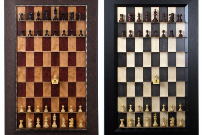 """Straight Up Chess"" vertical chess boards. ($280–$360, depending on model)"