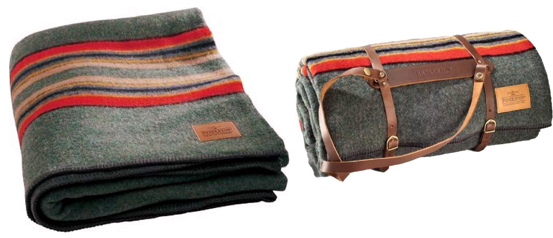 Pendleton wool camp blanket with leather carrier. ($169)