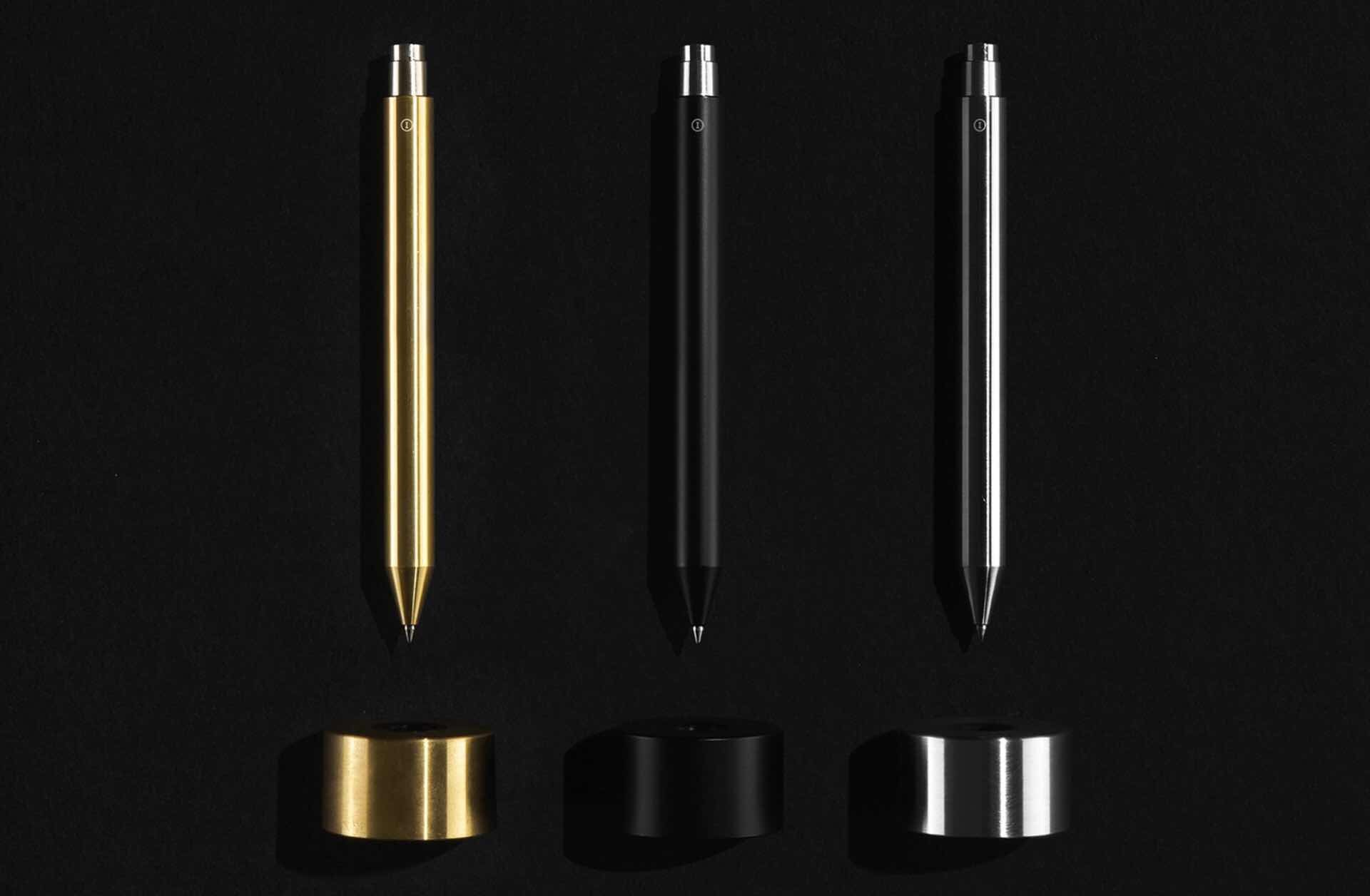 Inventery's Mechanical Pen + Stand collection. ($50$90 per pen depending on size, and $50 per stand  all available in three colors)