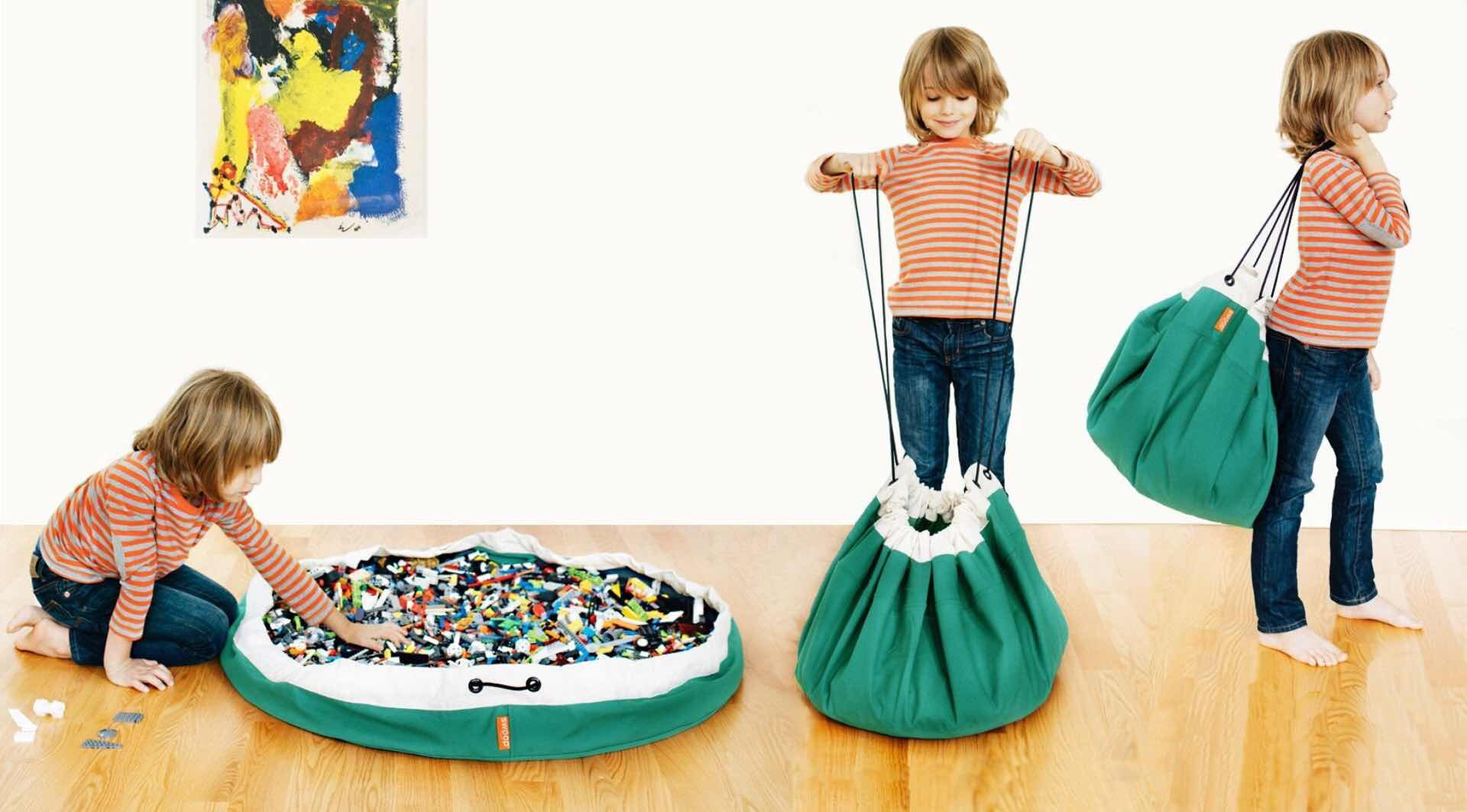Swoop Bags toy storage bag + play mat. ($48–$52, depending on color)