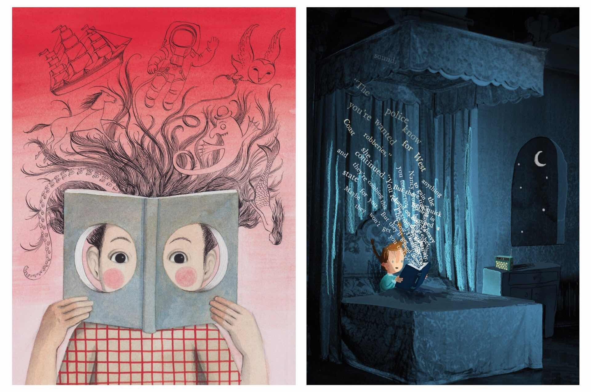 Artwork by Sophie Blackall (left) and Oliver Jeffers (right)