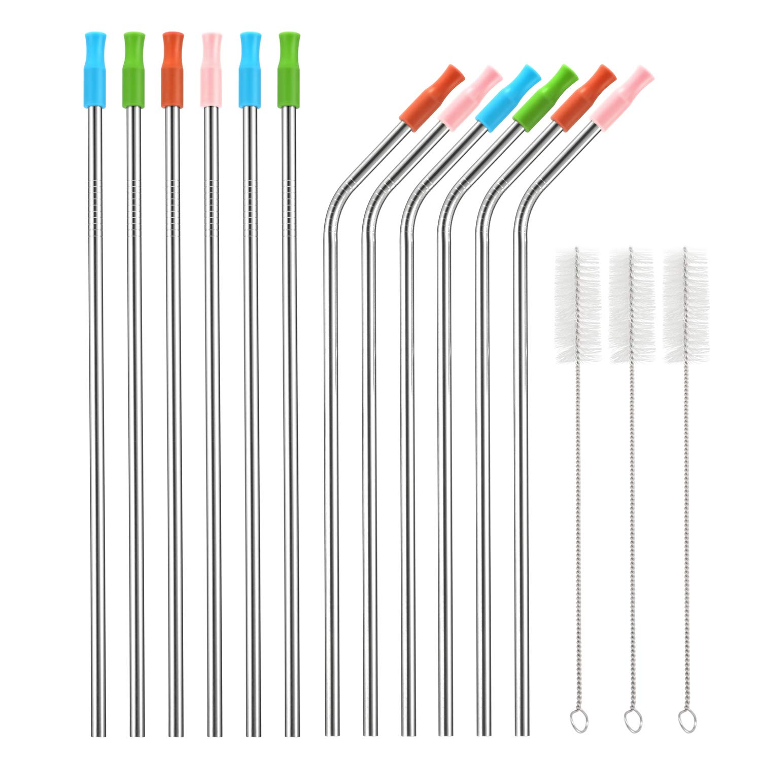 x-chef-reusable-stainless-steel-drinking-straws-with-silicone-tips