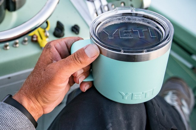 The YETI Rambler 14 oz. vacuum-insulated mug. ($25, available in a bunch of Duracoat colors)