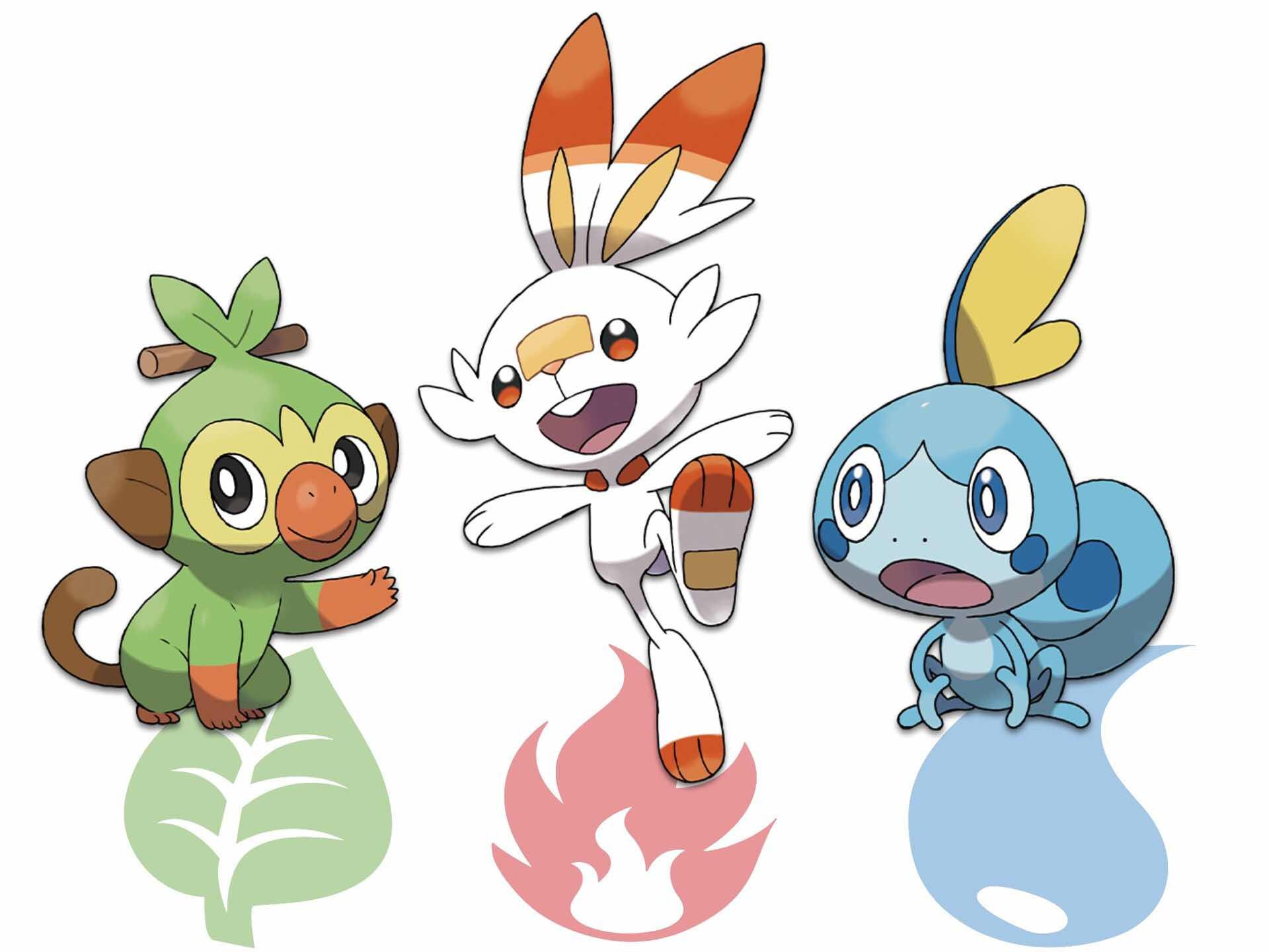 From left to right: Grookey [Grass], Scorbunny [Fire], and Sobble [Water]