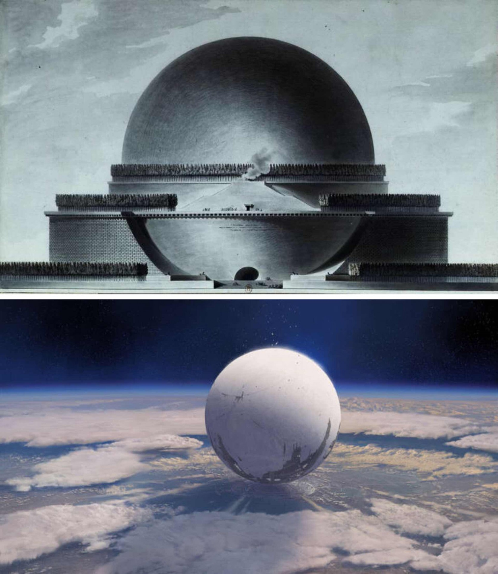Top: The Temple of Death (a cenotaph for Isaac Newton) by Étienne-Louis BoulléeBottom: The Traveler, Destiny