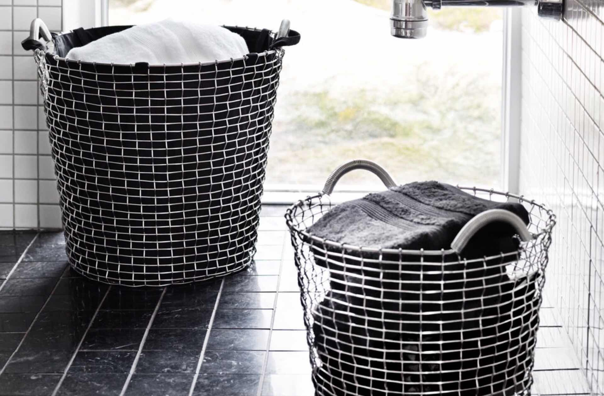 Korbo's handwoven steel wire baskets. (€99–€290 / ~$110–$322 USD, depending on size and material)