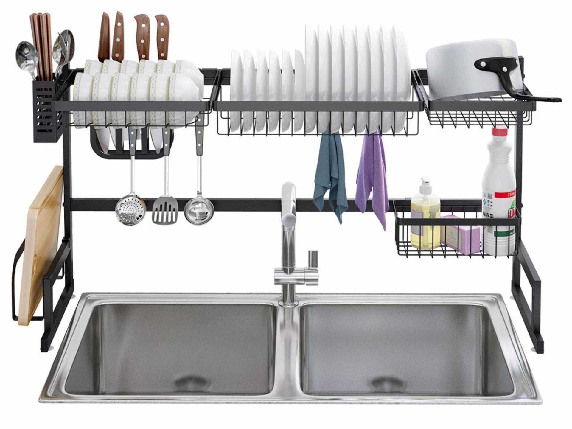 Langria over-the-sink dish rack. ($155 for the larger one, $130 for the smaller model — check their sink width requirements before buying)