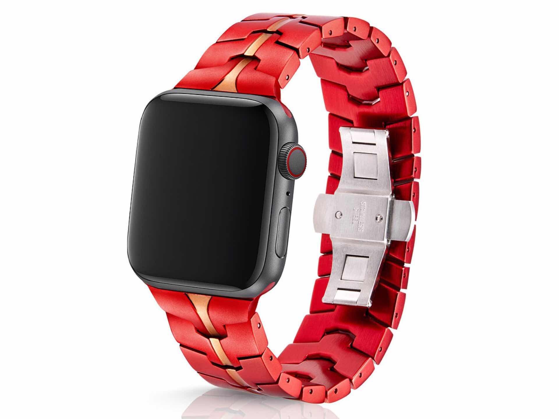 "Juuk ""Vitero Crimson"" band for Apple Watch. ($149)"