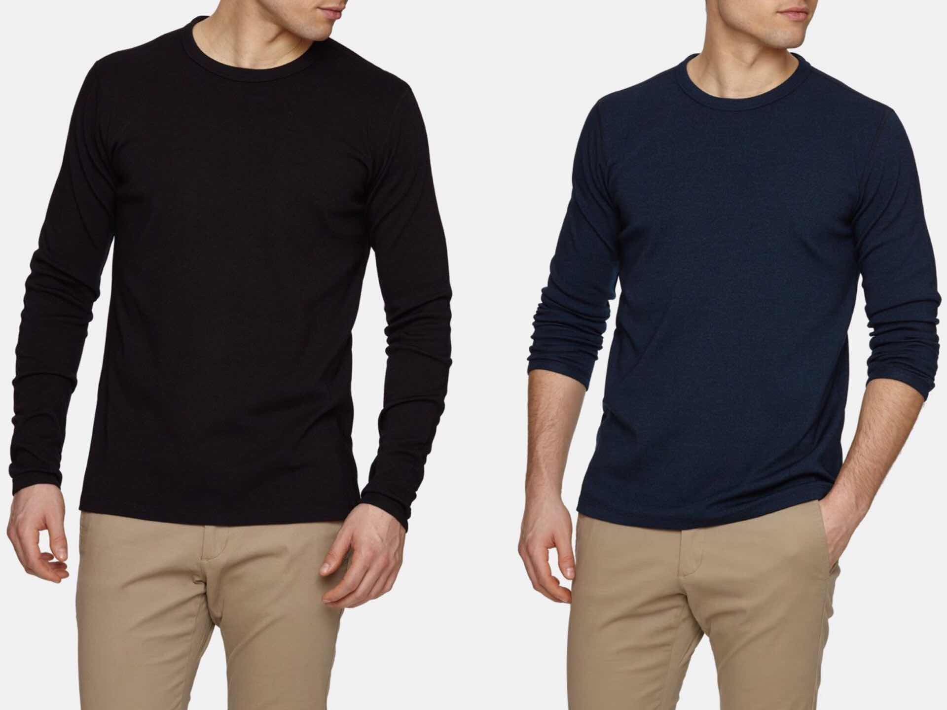 Wool & Prince's Heavy Crew Neck sweatshirts. ($118, available in black and navy)