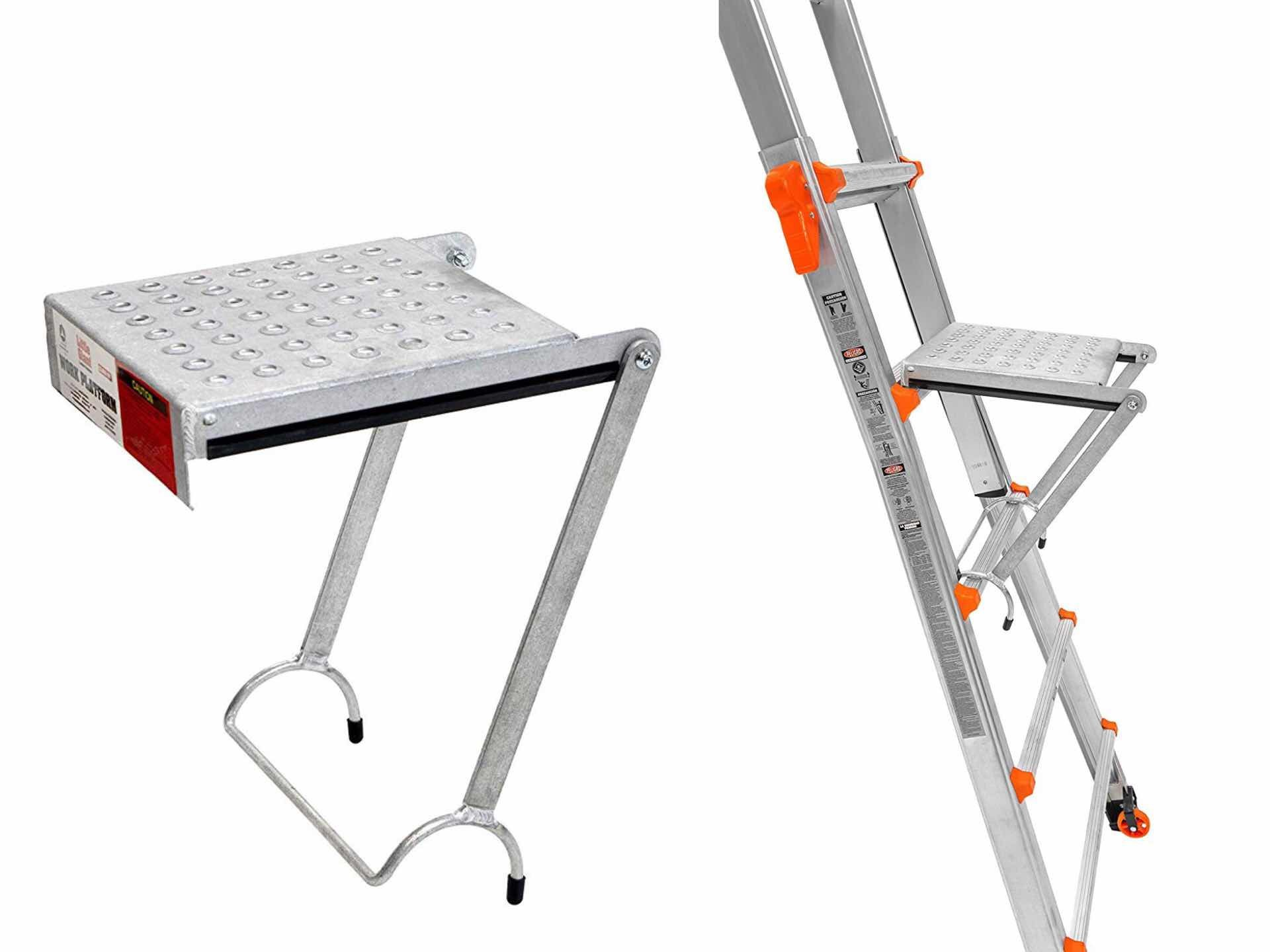 The optional work platform accessory ($33) can be added at any height and gives you a place to set down paint cans and tools, and even as a place to stand while you work without having to lean against the ladder itself.