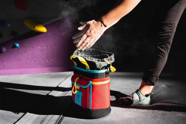 Topo Designs chalk bag. ($43 for either red/black or [white/turquoise](https://www.amazon.com/dp/B07G5HDPSP?tag=toolsandtoys-20))