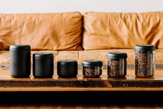 "Fellow ""Atmos"" vacuum canister for coffee and loose-leaf tea. ($25–$35 per container, depending on size and color)"