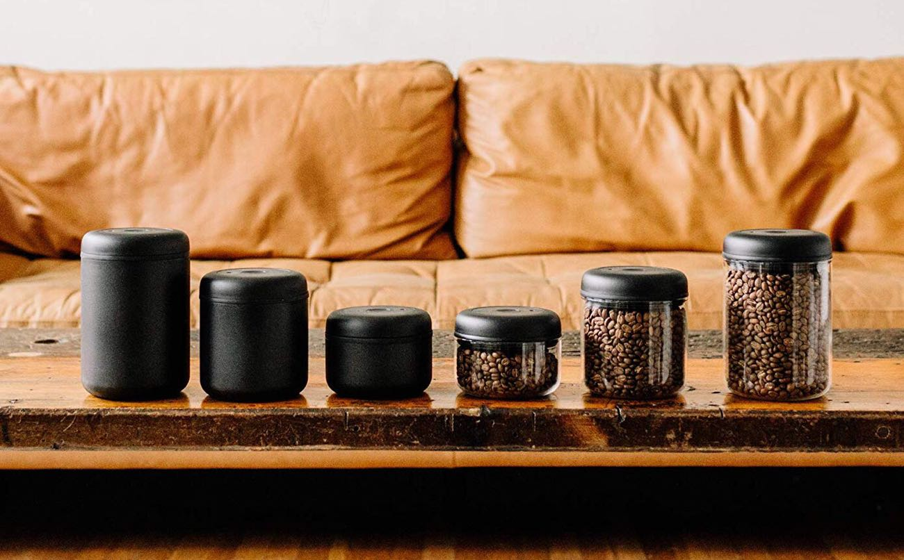 Fellow Atmos vacuum canister for coffee and loose-leaf tea. ($25$35 per container, depending on size and color)