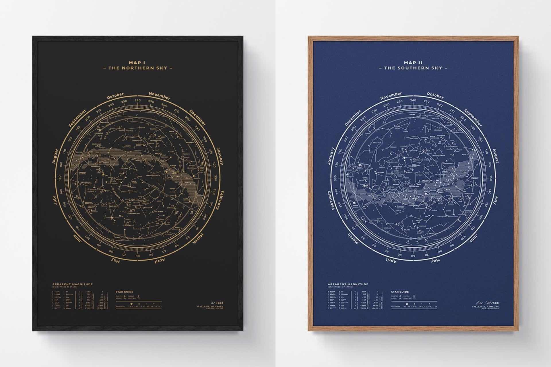 Stellavie's constellation map prints. (€80–€225 / ~$96–$270 USD, depending on size)