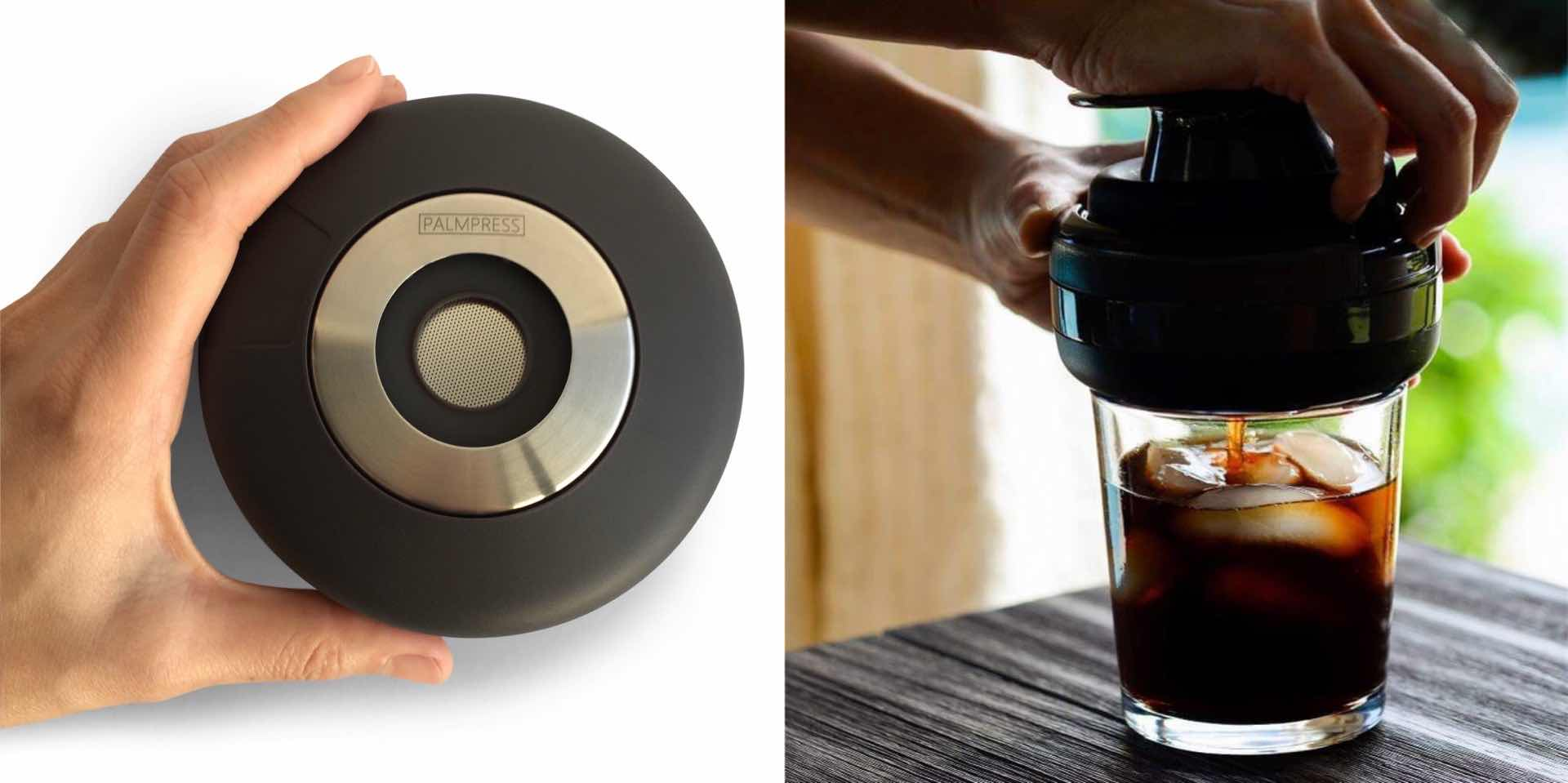 The Palmpress collapsible coffee press. ($39 in black or eggshell blue)