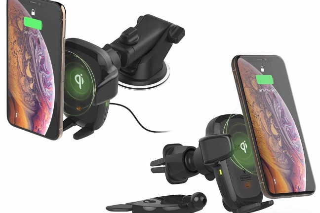 iOttie's automatic clamping phone car mount + Qi charger. ($50 for the dashboard mount, $60 for air vent + CD slot version)