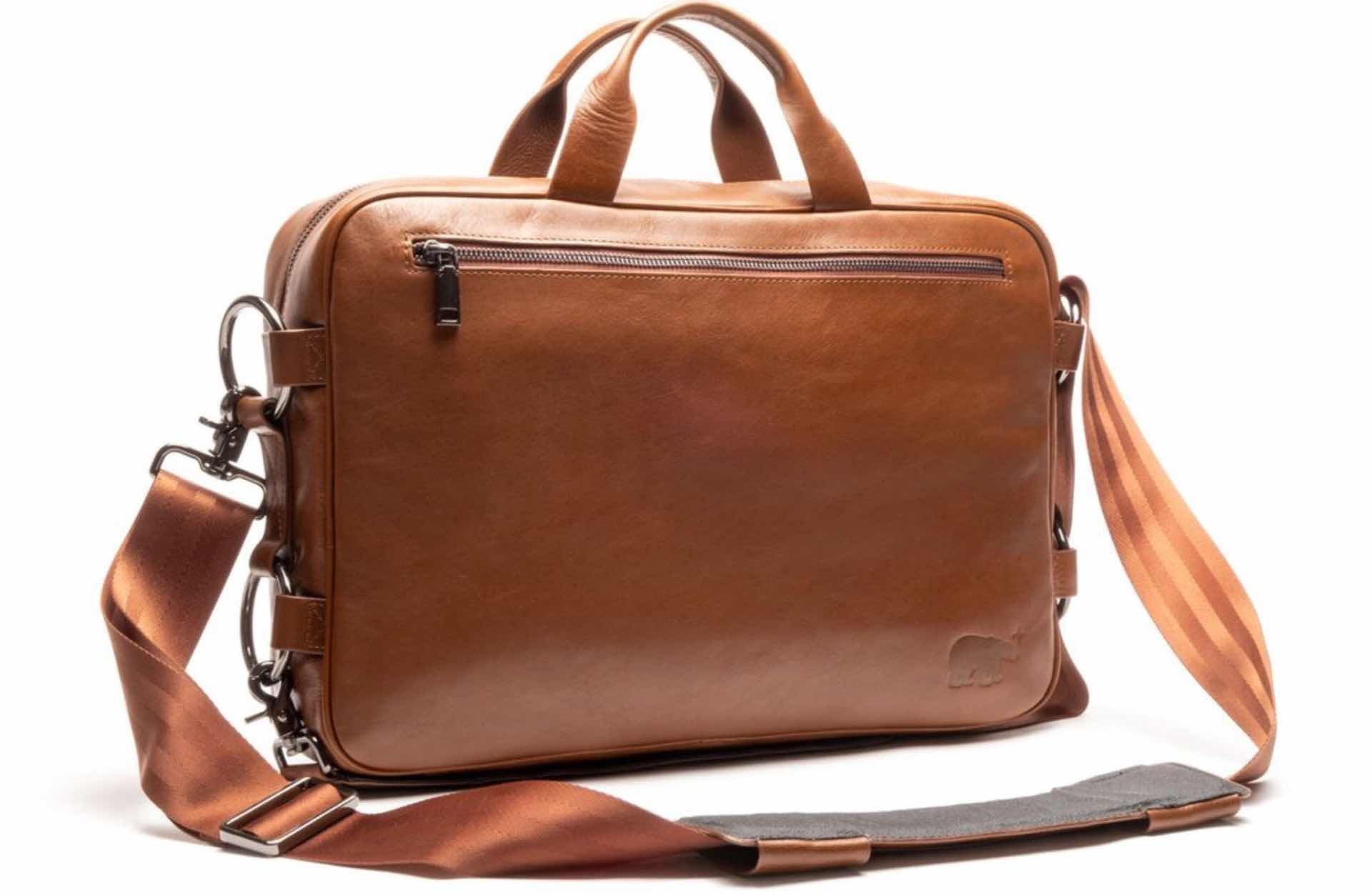"Hillside Industries' convertible ""Meridian 2.0"" bag. ($275 for leather, $175 for nylon)"