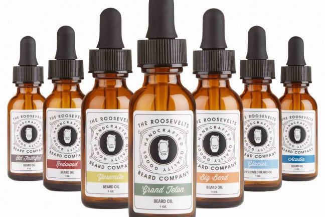 National Parks beard oils by The Roosevelts Beard Company. ($20–$25 per one-ounce bottle)