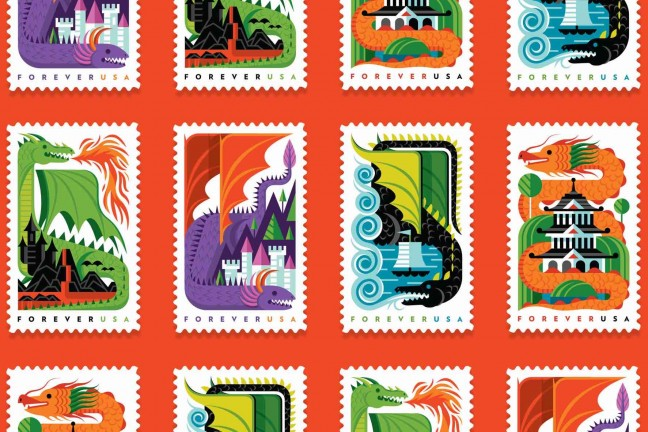 invisible-creature-usps-dragons-forever-usa-postage-stamps