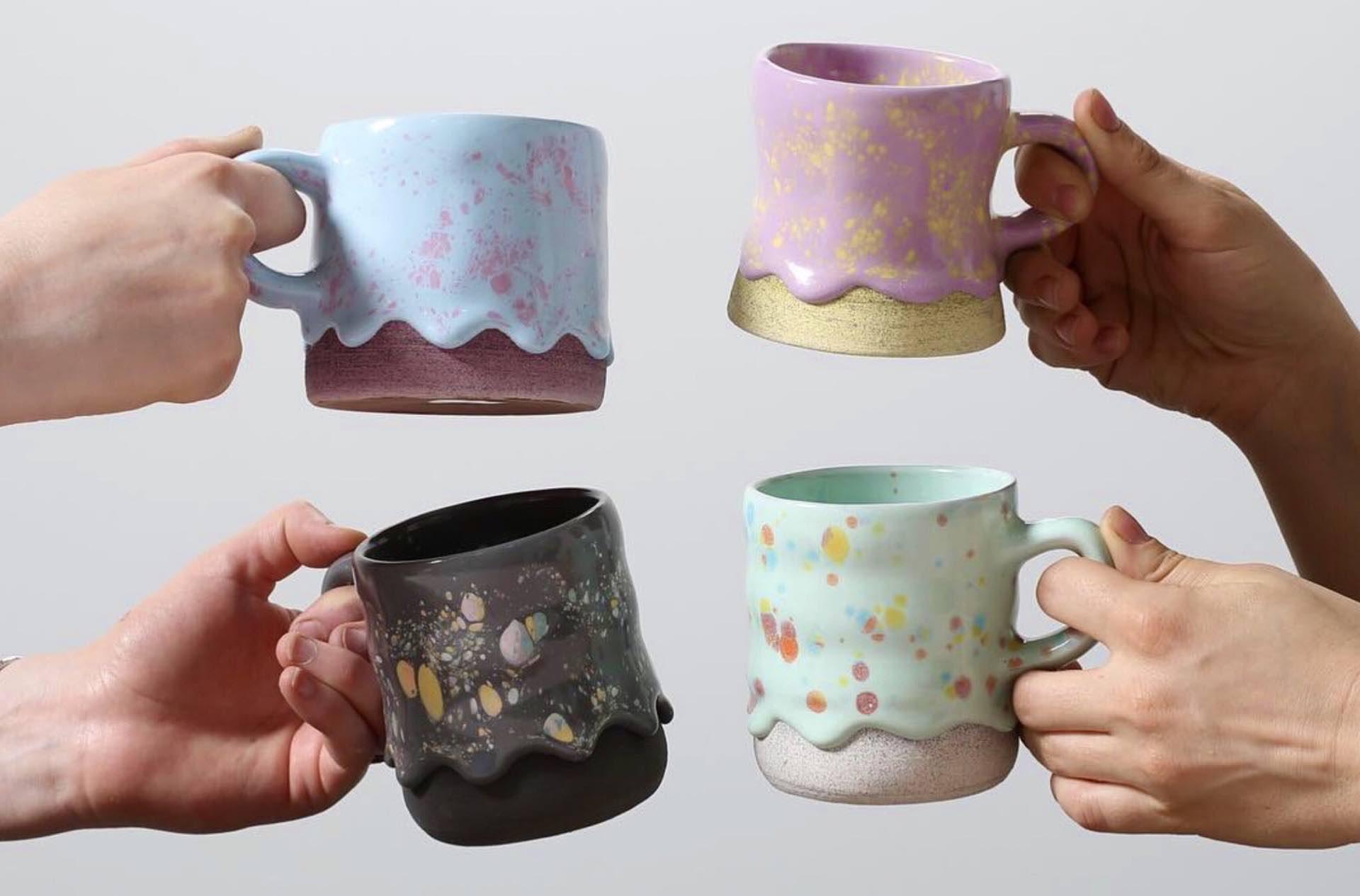 "Brian Giniewski's ""Drippy Pots"" ceramic mugs. ($28–$42, depending on cup size/type)"