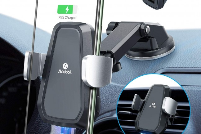Andobil auto-clamping iPhone car mount + wireless charger. ($50)