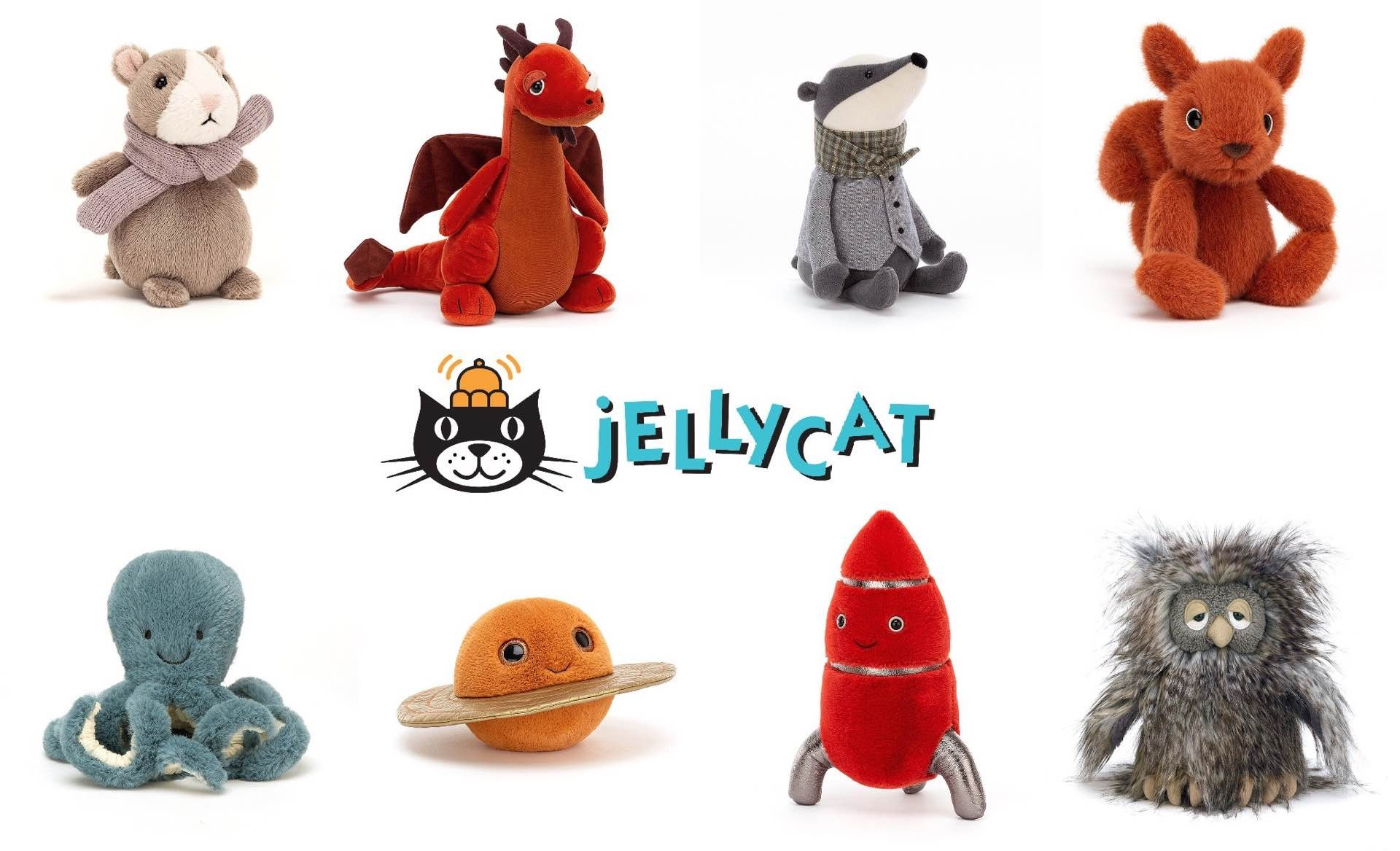 Jellycat stuffed animals. (prices vary, mostly in the $15–$35 range per plush)