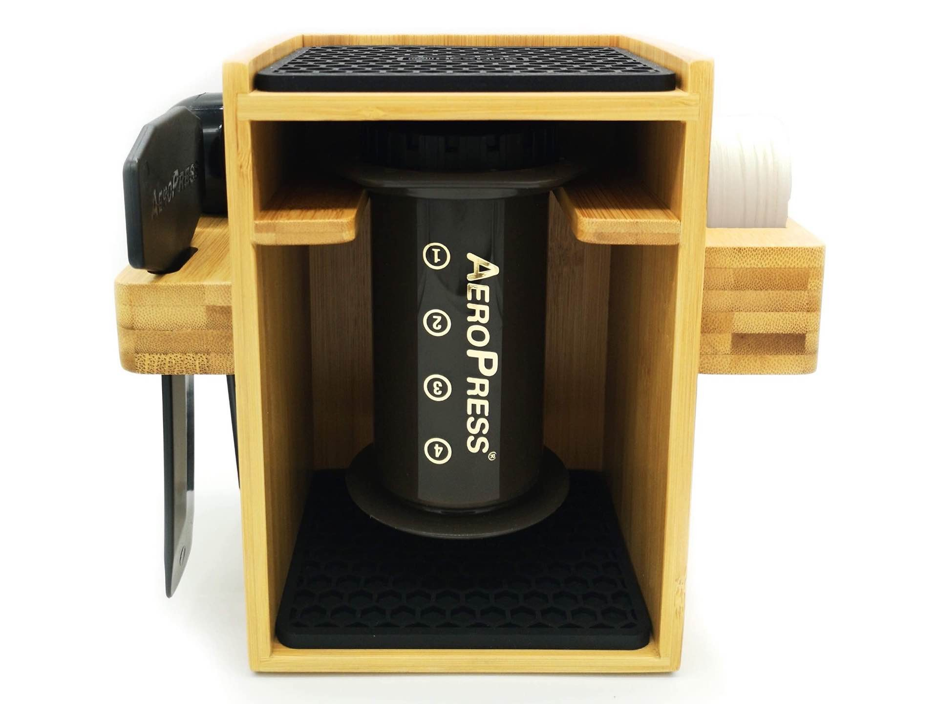 Hexnub's compact AeroPress organizer/stand/caddy, made from bamboo. ($32)