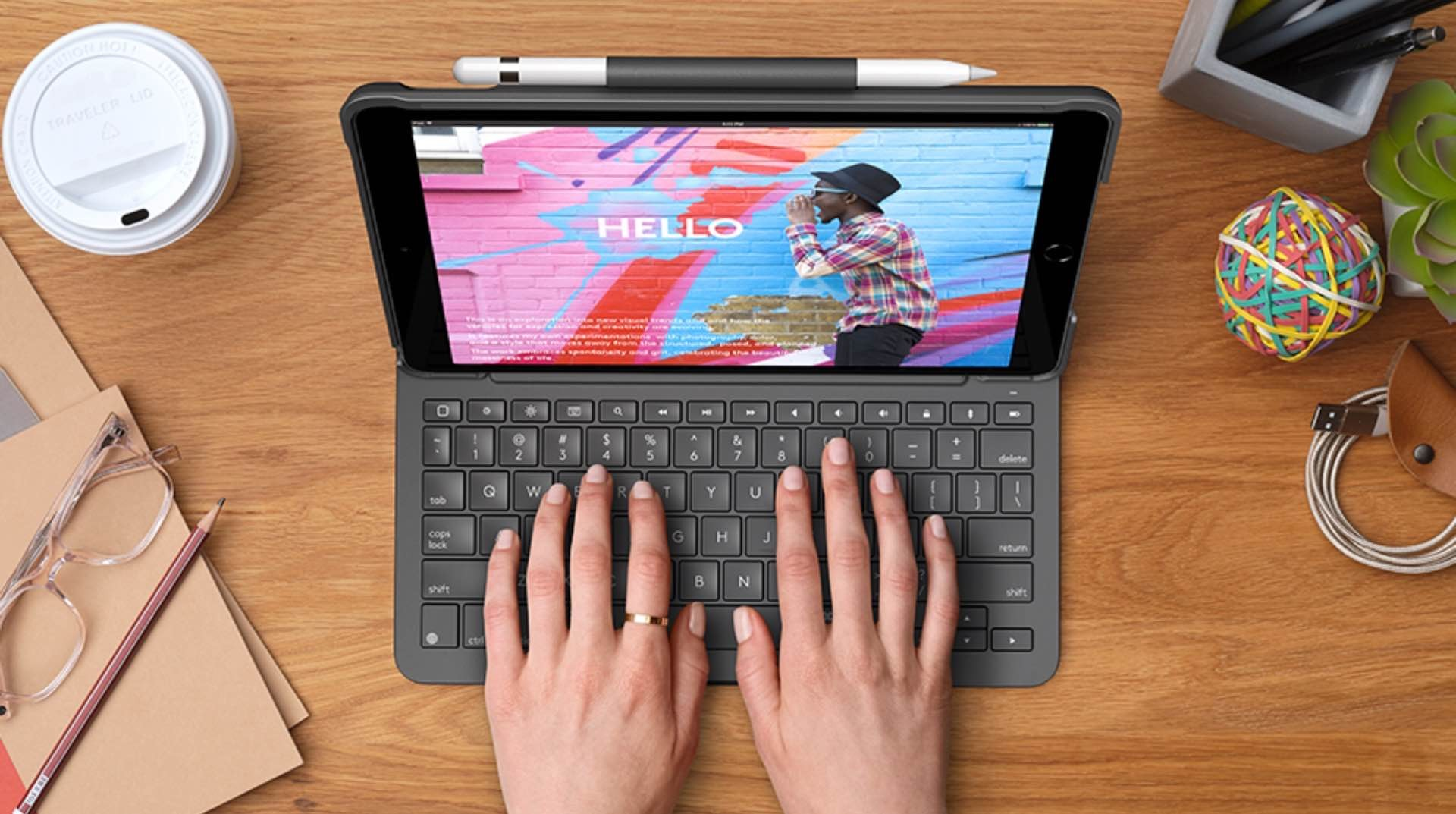 logitech-slim-folio-keyboard-case-for-8th-gen-ipad-2020-typing