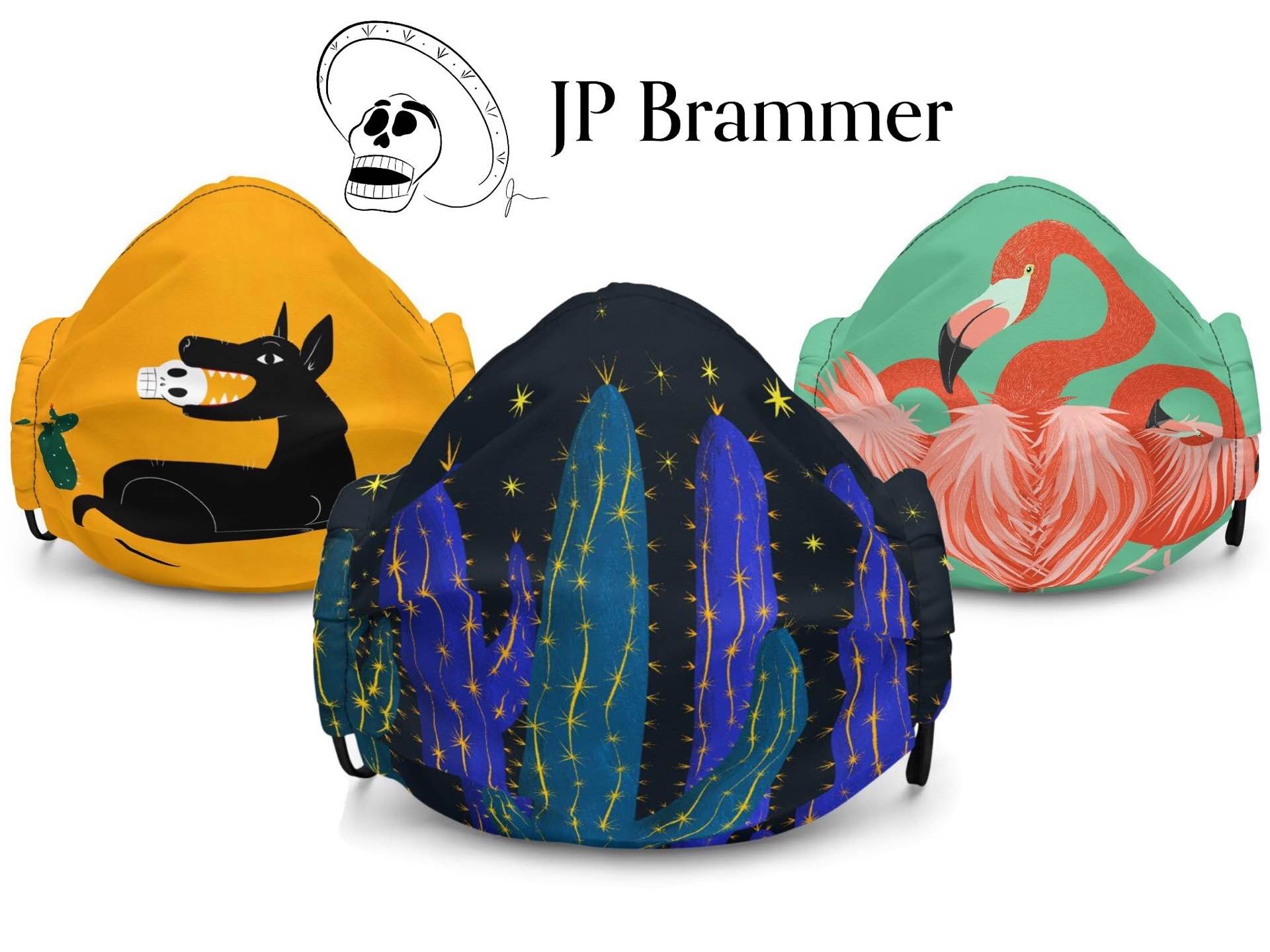JP Brammer's artwork face masks. ($22 each)