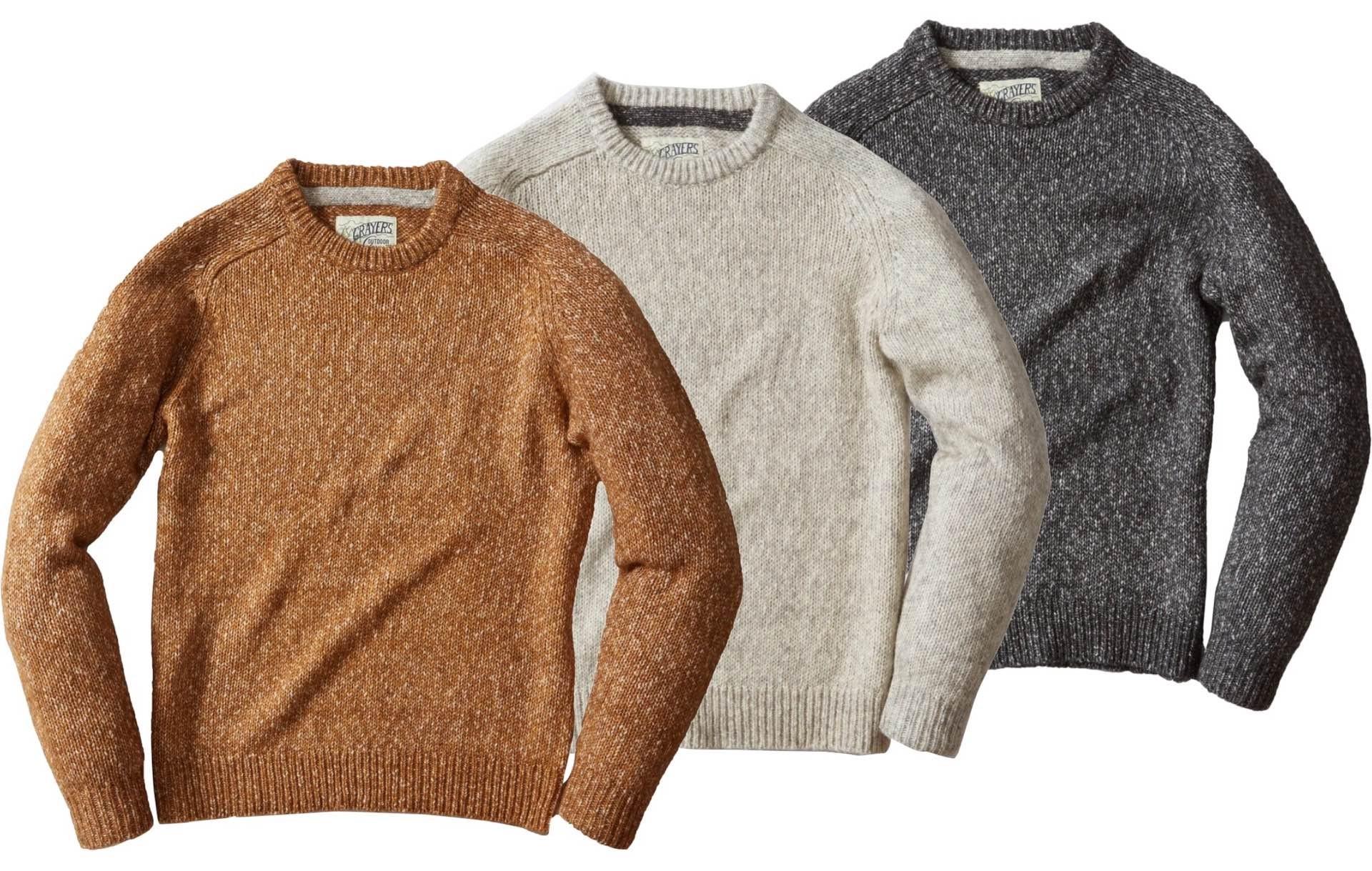 Grayers raglan-sleeved crewneck sweaters. ($165 each)