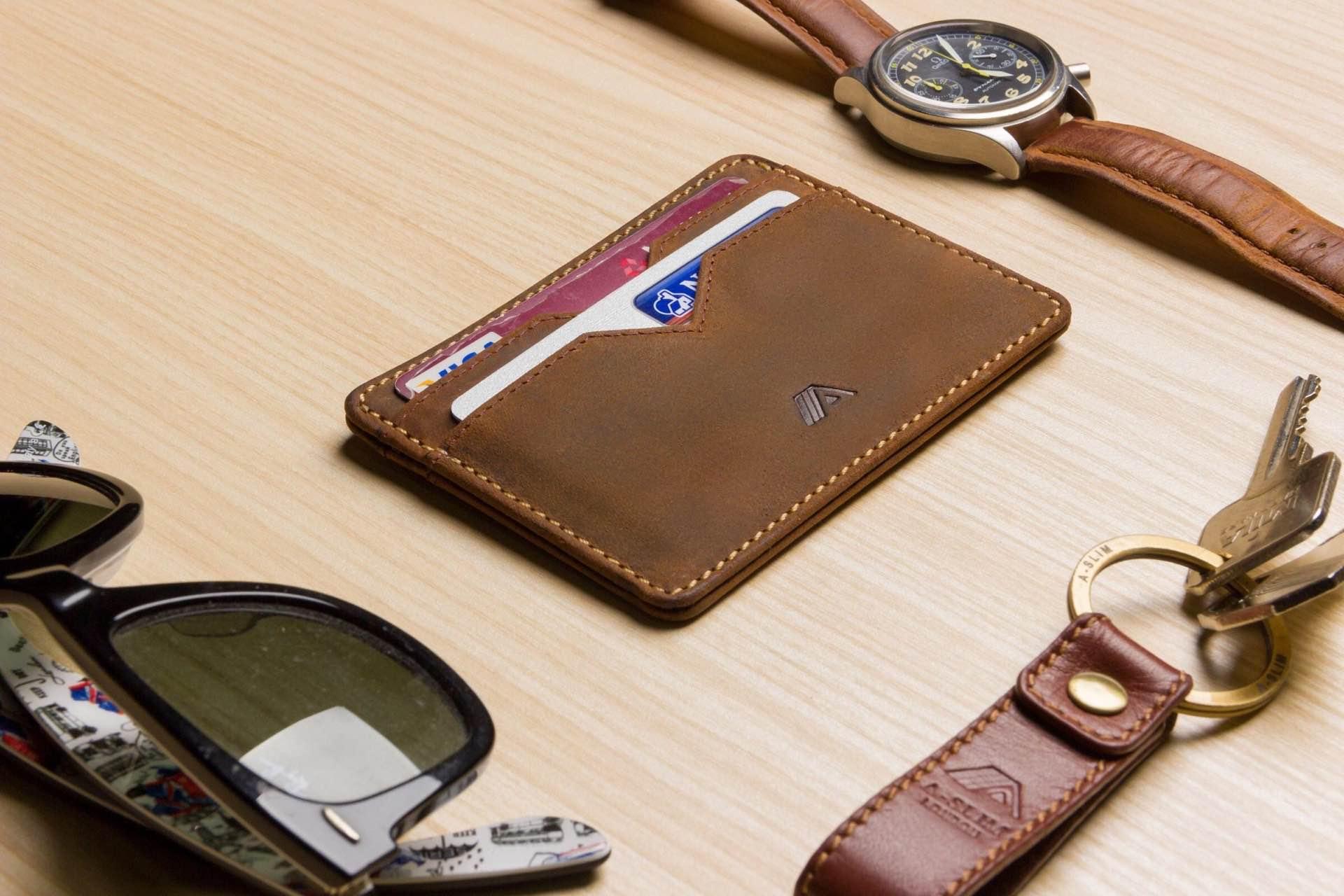 A-SLIM leather card holder. (~$40)