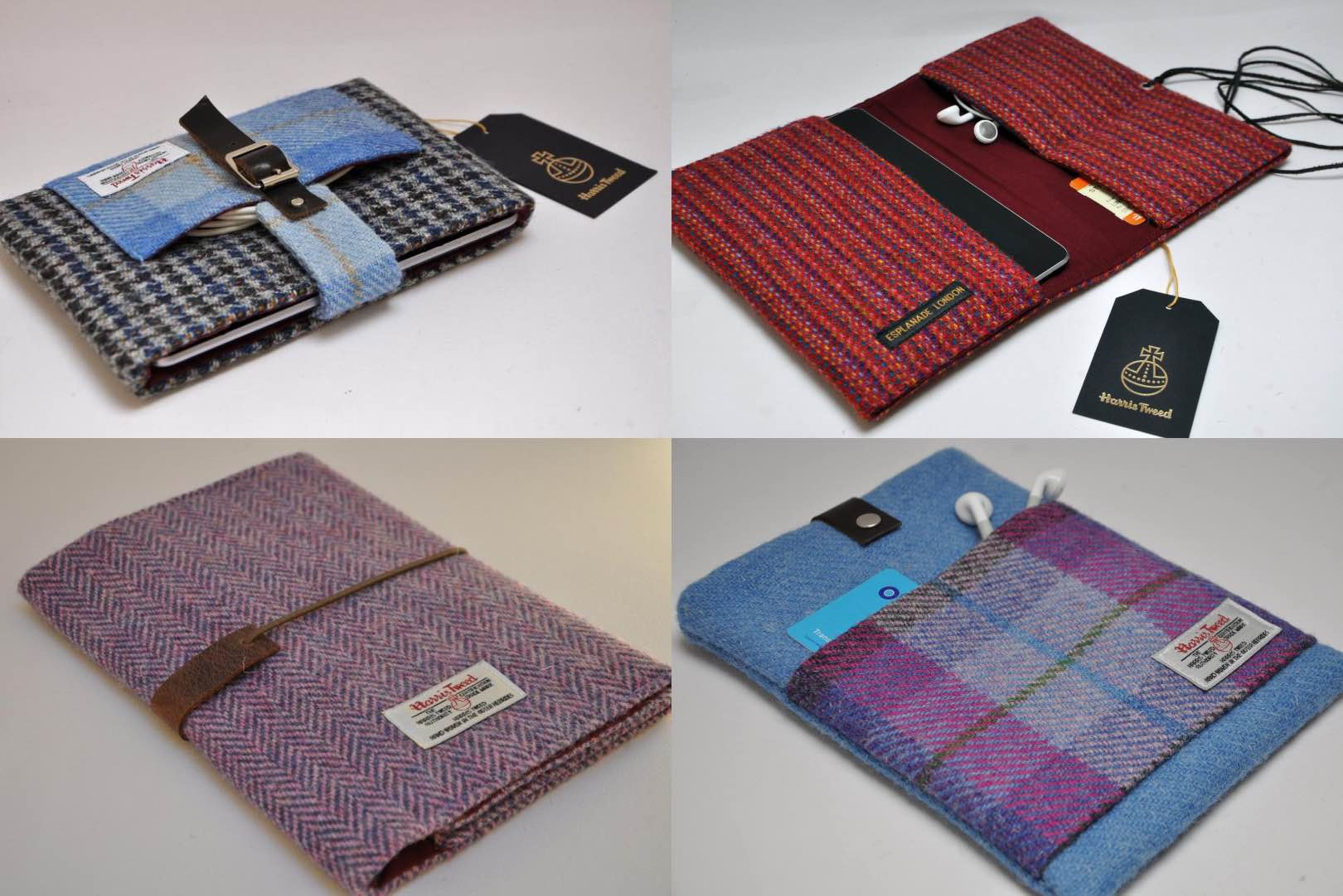Pictured here are some of the shop's tablet/e-reader cases.