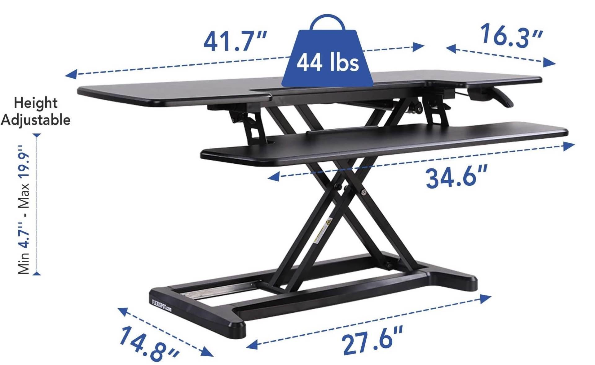 Shown here are the specs for the large 42-inch desk converter.